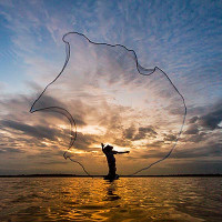 Fishermen fishing by fishnet